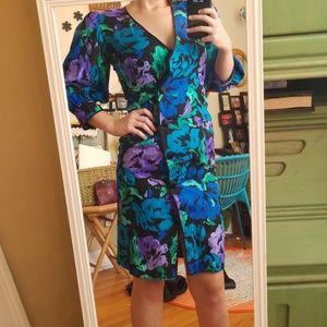VTG Gorg Bright 100% Silk Flower Midi Dress!